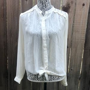 Iris Sheer Ivory Button Down Tie Lace Blouse